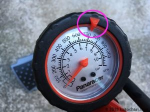 空気圧ゲージには目安が装備されている