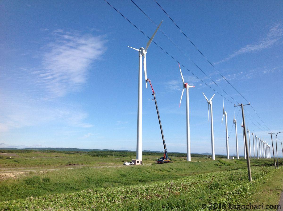 風力発電修理中の様子