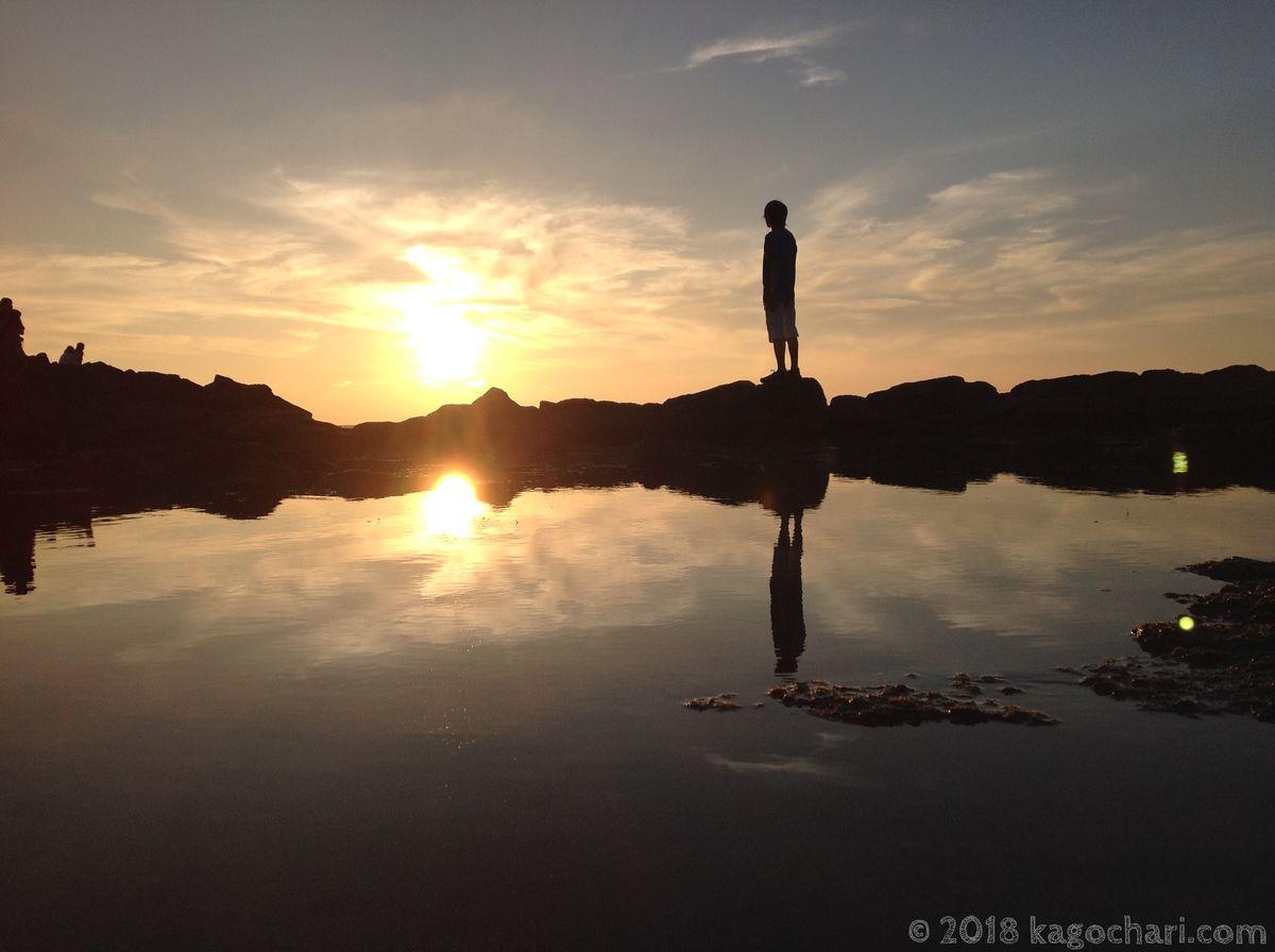 黄金岬の夕日-02