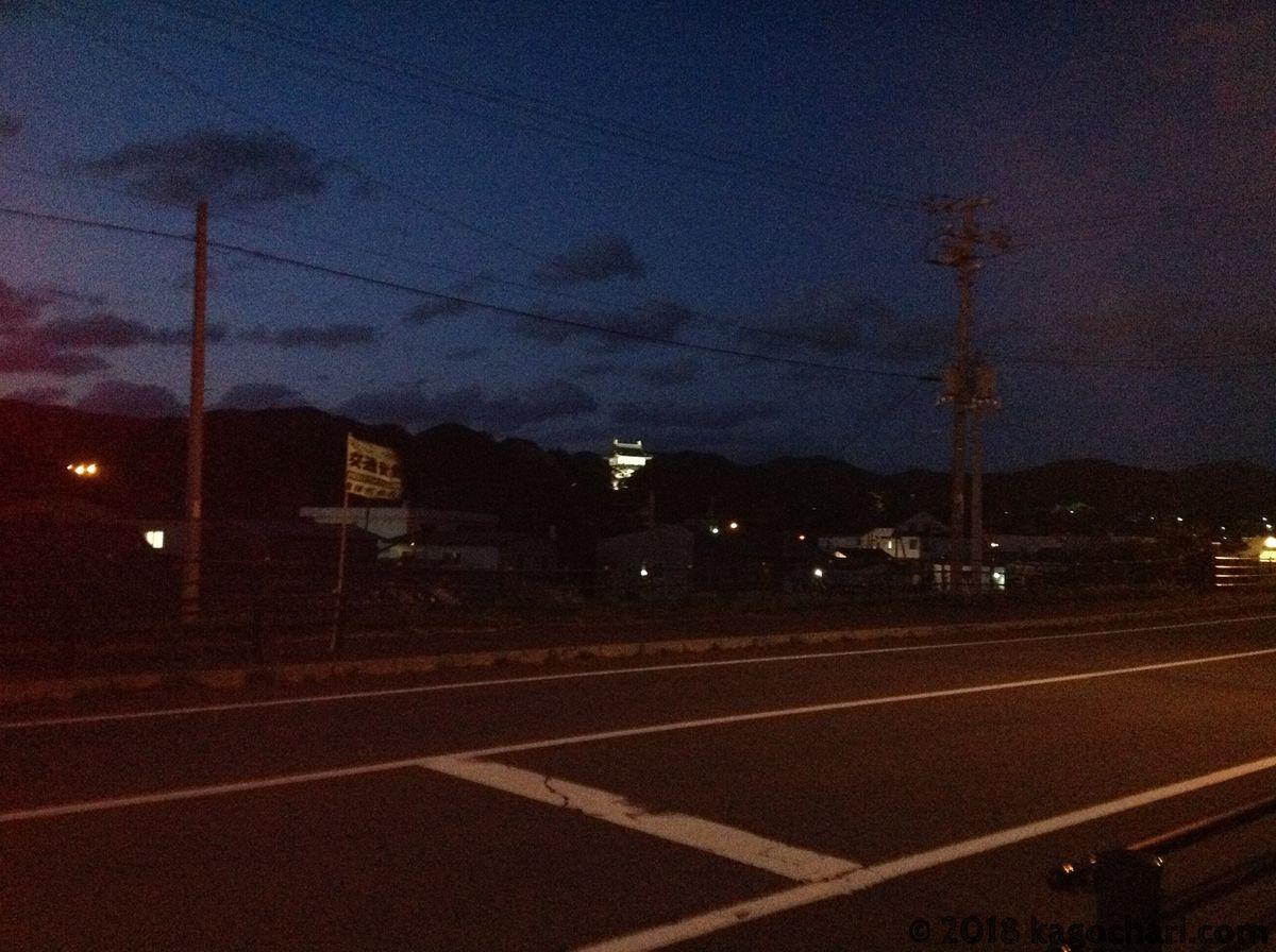 夜の松前と松前城