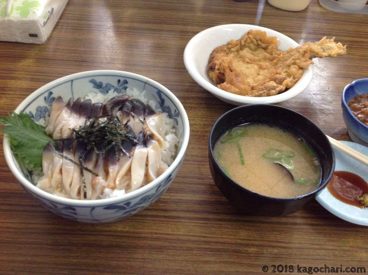 生ホッキ丼、カレイのフライ