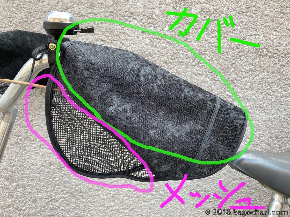 夏用自転車ハンドルカバーの構造説明