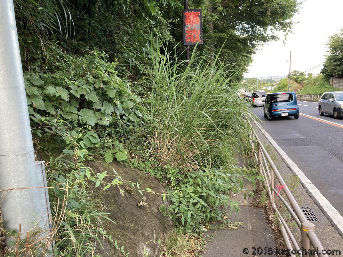 国道246号の鶴川温泉付近の歩道